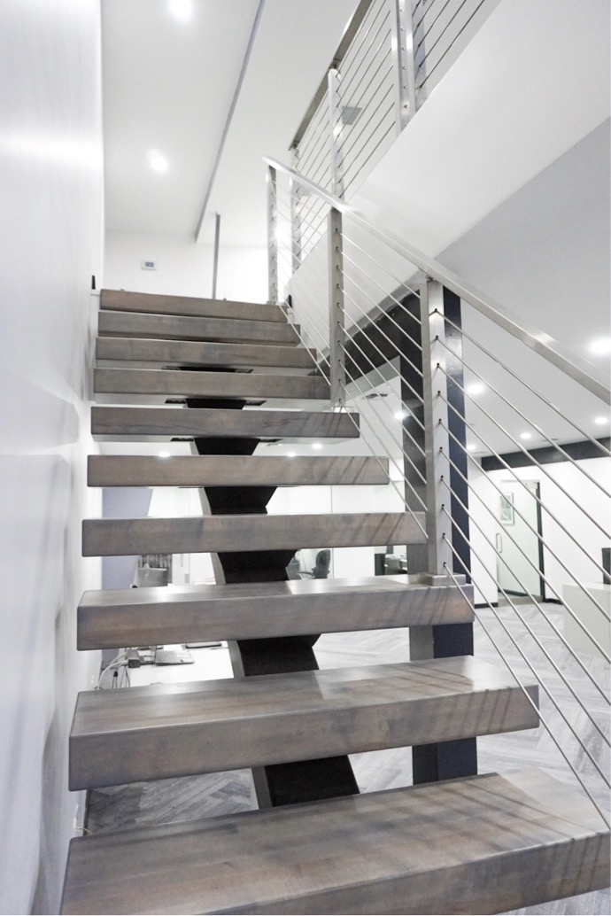Optimal Construction Management Floating Staircase at Office Build on St. Thomas, USVI